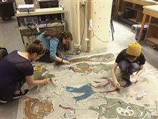 Artist Laura Jean McLaughlin worked with CCAC South students to create a mosaic mural that was unveiled June 16 as part of a year of celebrating CCAC South's 50th anniversary.