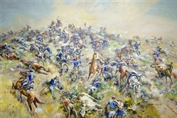 """The Call of the Bugle,"" an oil painting by J.K. Ralston, depicts Lt. Col. George Armstrong Custer rallying his troops at the Battle of the Little Bighorn in Montana. This weekend marks the 140th anniversary of the battle."