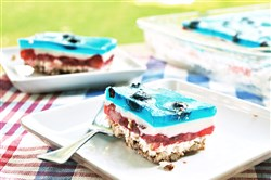Red White and Blue Pretzel Salad.