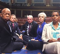 Rep. Mike Doyle tweeted this photo he took of fed-up Democrats occupying the House floor to protest the lack of new legislation to address gun control in 2016. At left is Georgia congressman John Lewis,