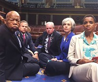Rep. Mike Doyle, center, tweeted this photo he took of Democrats occupying the House floor to protest the lack of new legislation on gun control. Rep. John Lewis is at left.