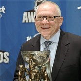 Penguins general manager Jim Rutherford holds the General Manager of the Year trophy after winning the award at the NHL Awards show last Wednesday in Las Vegas.