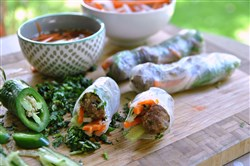 Rice Paper Banh Mi with Pork Meatballs and Nuoc cham Dipping Sauce.