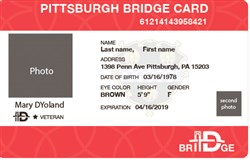 A proposed Pittsburgh municipal ID card would be called Bridge ID. It has space for two photos. Gender will be optional.