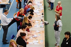 "The North East region European Union referendum count takes place Thursday in Sunderland, United Kingdom. The United Kingdom went to the polls to decide whether or not the country wishes to remain within the European Union. After a hard-fought campaign from ""remain"" and ""leave,"" the vote is too close to call. A result on the referendum is expected this morning."