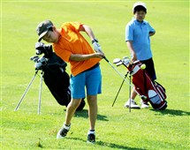 Leon Jiao, 11, of Wexford hits from the fairway at The First Tee of Pittsburgh Tournament Saturday at the Bob O'Connor Golf Course in Squirrel Hill.
