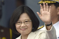 Taiwan's Tsai Ing-wen waves on May 20 at the venue of her inauguration at the Presidential Office Building in Taipei, Taiwan.