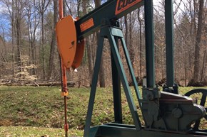 A pumpjack at a conventional well site in Forest County, Pa.