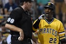 The Pirates' Andrew McCutchen argues a called third strike with home plate umpire Chris Conroy on Sunday at PNC Park.