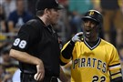 Andrew McCutchen argues with home plate umpire Chris Conroy, who tossed McCutchen from the game, Sunday at PNC Park.