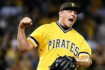 Mark Melancon celebrates after getting his 27th save for the Pirates, beating the Dodgers at PNC Park .