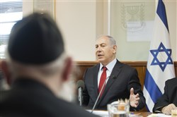Israeli Prime Minister Benjamin Netanyahu attends a weekly cabinet meeting in Jerusalem on Sunday.