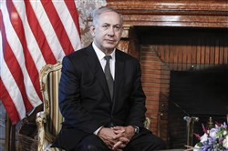Israeli premier Benjamin Netanyahu is portrayed during his meeting with U.S. Secretary of State John Kerry at Villa Taverna, U.S. Embassy, in Rome on Monday.