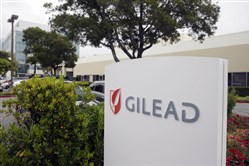 This July 9, 2015, file photo shows the headquarters of Gilead Sciences in Foster City, Calif.