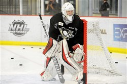 Goaltender Filip Gustavsson stands in goal during the first day of the Penguins' annual prospect development camp at the UPMC Lemieux Sports Complex in Cranberry in June 2016.