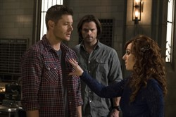 "Coming to Pittsburgh for a ""Supernatural"" convention July 8-10 are, from left, Jensen Ackles, Jared Padalecki and Ruth Connell,.seen here in an episode from season 11."