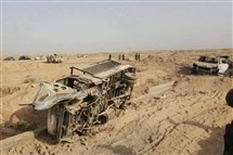 This image released by Iraq's Counterterrorism Service shows destroyed militant vehicles after airstrikes on Islamic State fighters fleeing the outskirts of Fallujah on Wednesday.