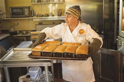 Jenny Bardwell with loaves of Salt Rising Bread.