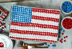 Red, White and Blue Poke Cake with M&M's