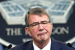 Secretary of Defense Ashton Carter announces the military will lift its ban on transgender troops during a press briefing Thursday at the Pentagon in Washington, D.C.
