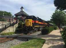 The train that carries the plush Hawkeye office car and the Abraham Lincoln dining car, in Oakmont.