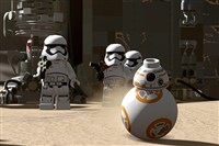 "Frame from video game: ""Lego Star Wars: The Force Awakens."""
