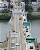 Construction work continues on the Liberty Bridge.