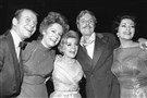 "Stars of the show ""Follies,"" from left, Gene Nelson, Alexis Smith, Dorothy Collins, John McMartin, and Yvonne DeCarlo, in New York in 1971."