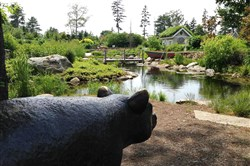 "Bronze sculpture of the bear from Robert McCloskey's book ""Blueberries for Sal"" at Coastal Maine Botanical Gardens. In the background is the play cottage in the children's garden."