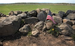 """The Bloody Angle"" on the Union lines where Pickett's Charge was repulsed on the third day of fighting on July 3, 1863, on the Gettysburg battlefield. The angle in the historic stone wall is considered the ""high watermark of the Confederacy"" and the battle there is regarded by many historians as the turning point of the Civil War."