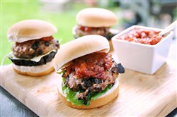 Turkey-Feta Burgers with Tomato Jam.