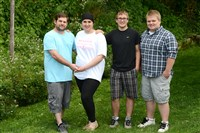A family together: Leah Wack (second from left) with her fiance, Ken Tester Jr., and twin brothers Shawn and Matthew Wack, 16.