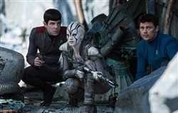 "From  left, Zachary Quinto plays Spock, Sofia Boutella plays Jaylah and Karl Urban plays Bones in ""Star Trek: Beyond."""