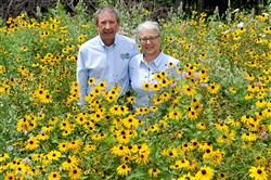 Raul Chiesa and Janet Sredy stand amid the flowers on part of their 110-acre Beckets Run Woodlands in Forward that was recently designated as a Wild Plant Sanctuary by the Department of Conservation & Natural Resources.