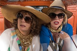 "Jennifer Saunders, left, as ""Edina"" and Joanna Lumley as ""Patsy"" in the film ""Absolutely Fabulous: the Movie."""