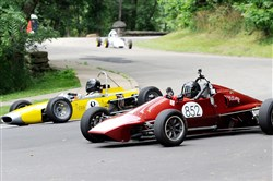 Drivers race a 1969 Alexis MK15 Formula Ford against a 1981 Gemini Club Ford in a July practice for the Pittsburgh Vintage Grand Prix in Schenley Park.