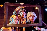 "James FitzGerald, left, Connor McCanlus and David Whalen in Kinetic Theatre's ""The Hound of the Baskervilles,"" a comedic version of the Sherlock Holmes story."