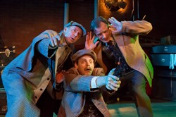 "David Whalen, Connor McCanlus and James FitzGerald in the Kinetic Theatre's ""The Hound of the Baskervilles,"" a comedic version of the Sherlock Holmes story. Photo by Rocky Raco"