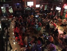 Carson City Saloon was the the main hub for Team Valor represented by red shirts.