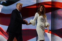 Donald and Melania Trump on the stage of the Republican National Convention at Quicken Loans Arena in Cleveland on Monday.