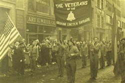 Veterans of the Abraham Lincoln Brigade march, circa 1940s.