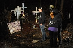 Jeremy Rizzo, left, looks away as Amy Rizzo hugs Krista Cochrane before a candlelight vigil on February 21, 2012, to honor the deaths of three Upper St. Clair people who were killed in a car accident on the Parkway West. The driver, Ryan Safka, 21, was found guilty of all counts including homicide by vehicle, involuntary manslaughter, recklessly endangering another person and reckless driving. Killed in the accident were David Rizzo Jr., 20, Tara Schulz, 18, and Derek Phillips, 20.