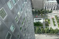 A view from the model 2 bedroom unit of Mellon Square and part of the old Alcoa Building.