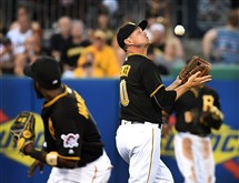 Pirates shortstop Jordy Mercer makes an over the shoulder catch on ball hit by Brewers Ryan Braun at PNC Park