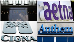 This photo combo shows signage for health insurers Humana Inc., Aetna Inc., Cigna Corp., and Anthem Inc. On Thursday, July 21, 2016, federal regulators said they are suing to stop two major health insurance mergers because they say the deals will increase health care costs for Americans and lower the quality of care they get. The Department of Justice said that the combinations of Aetna and Humana and Anthem and Cigna would hurt competition that restrains the price of coverage and reduce benefits, among other drawbacks. (AP Photo)