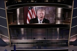 Donald Trump speaks to the GOP convention in Cleveland via satellite from Trump Tower in New York City.