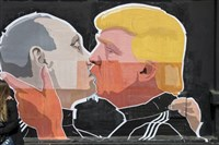 A mural in Lithuania mockingly portrays Vladimir Putin and Donald Trump kissing. Some of Clinton's staffers allege that Russia may try to be meddling in the U.S. elections on behalf of the Republican nominee.