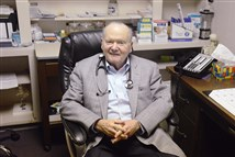 Dr George McCollum, 87, is retiring after being in practice since 1955. He saw his last patient on Friday.