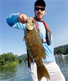 Michael Lincoln, 16, of Bethel Park boated this fine smallmouth bass on a July morning on the Monongahela River using a soft plastic lure.