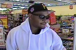 A suspect is shown on surveillance video at a Family Dollar.